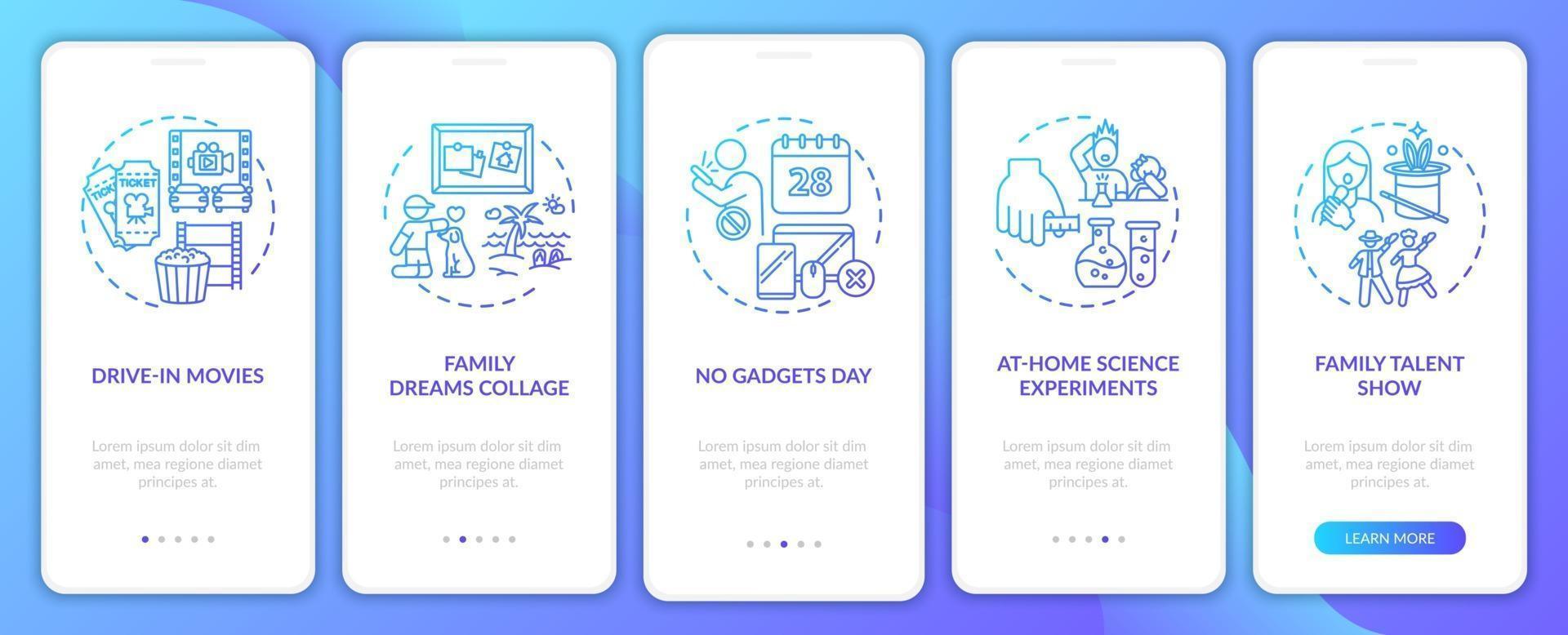 Écran de la page de l'application mobile d'intégration d'idées amusantes en famille avec des concepts vecteur