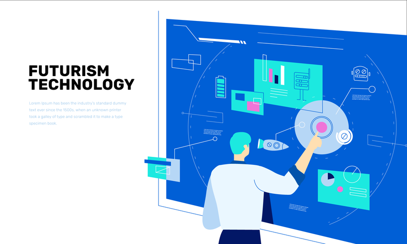 Futur professeur d'innovation technologique sur écran plat Vector Illustration