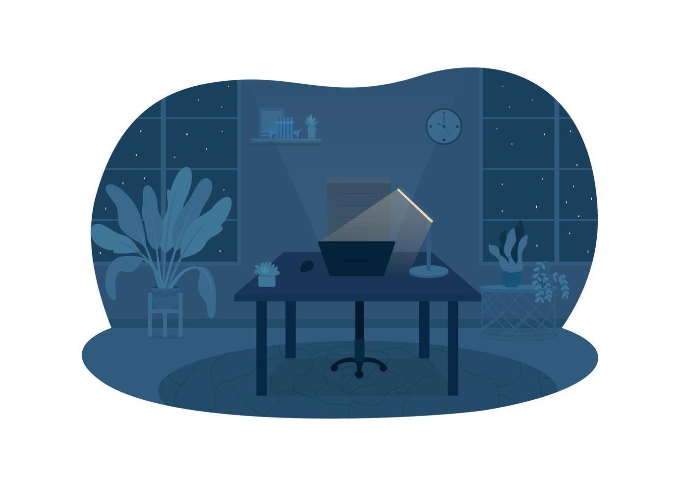 bureau indépendant dans la nuit bannière web vecteur 2d, affiche