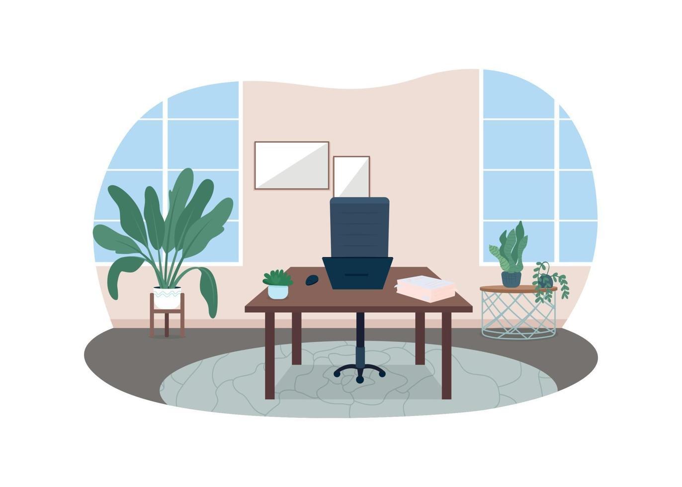 bureau à domicile bannière web vecteur 2d, affiche