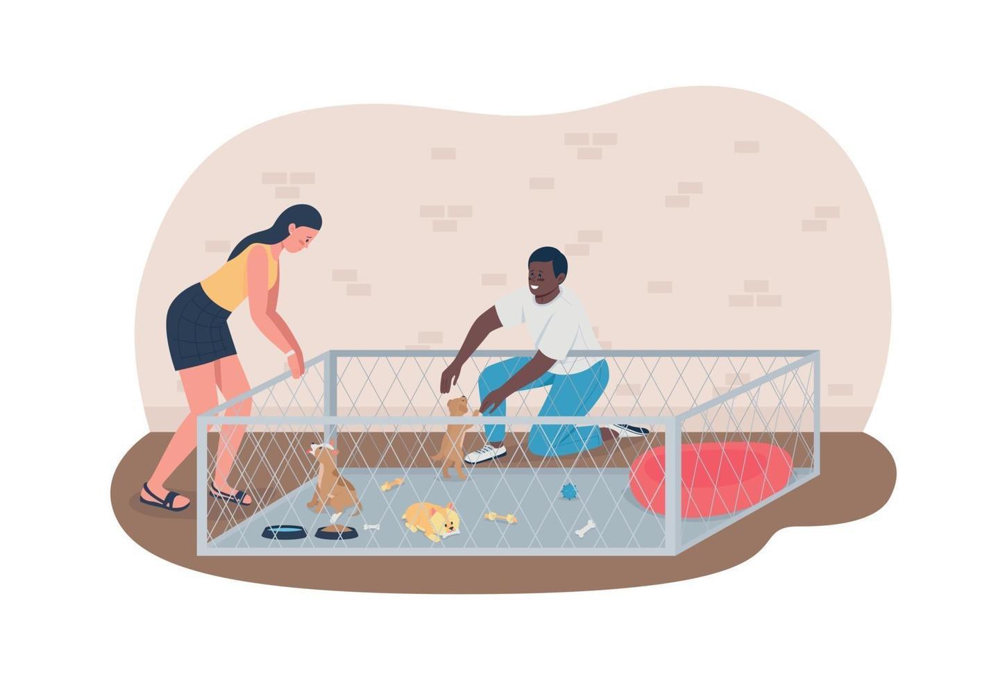 Choisissez un chiot dans un refuge pour animaux bannière web vecteur 2d, affiche