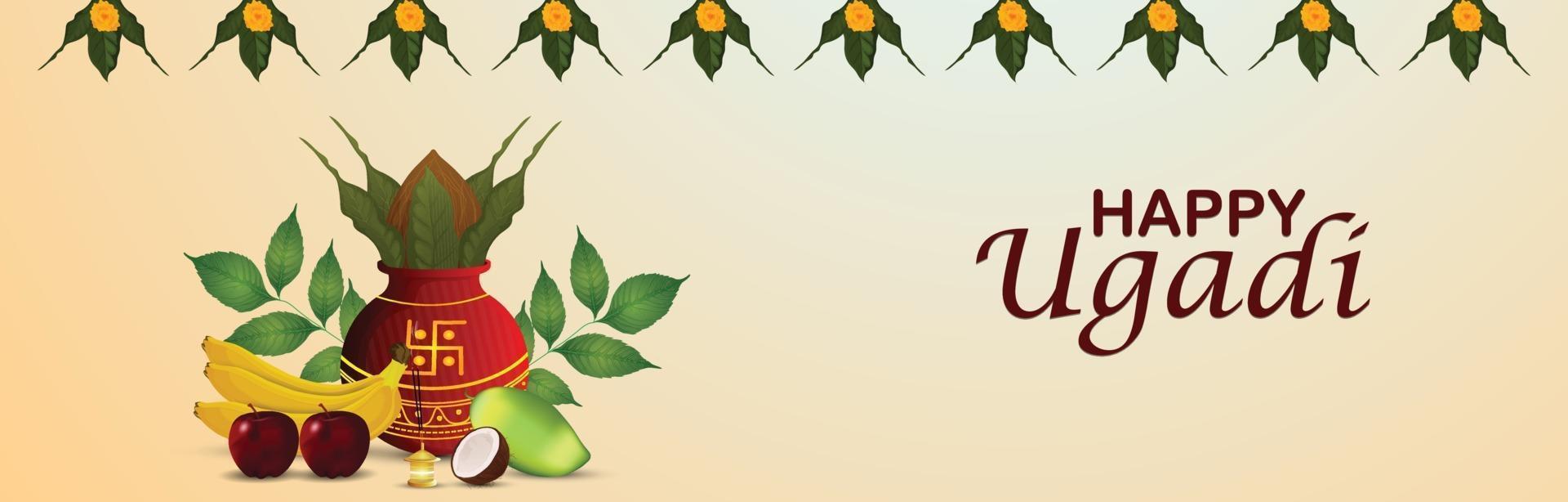 bannière de célébration joyeux gudi padwa avec kalash réaliste vecteur