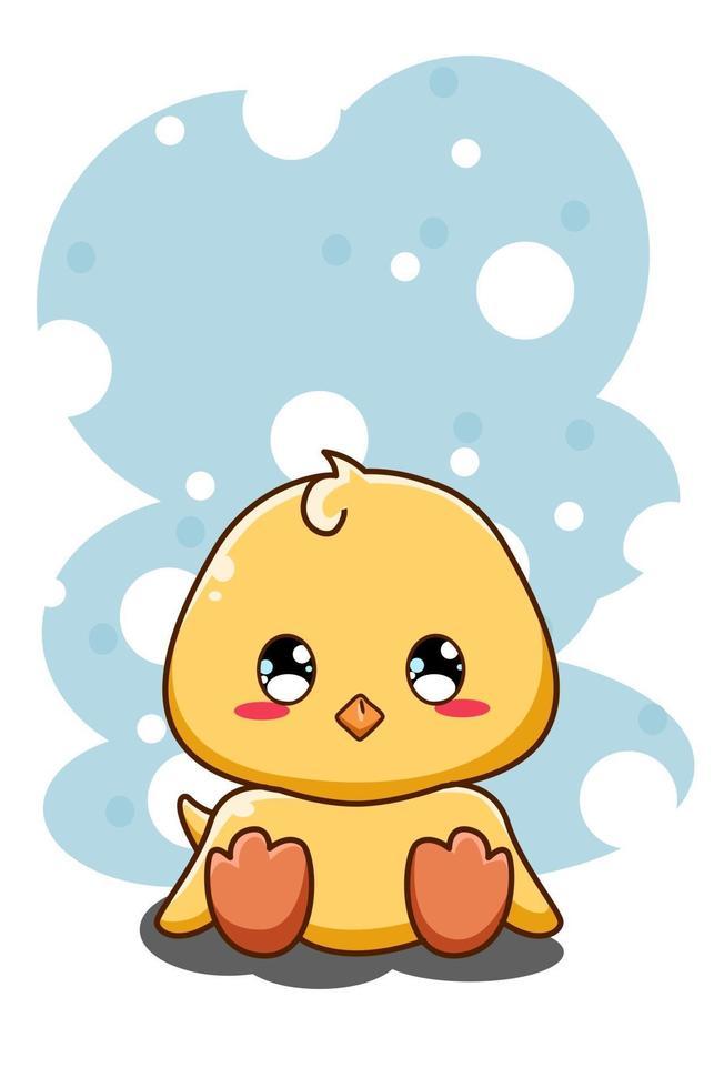 illustration de dessin animé animal mignon et drôle petit canard vecteur