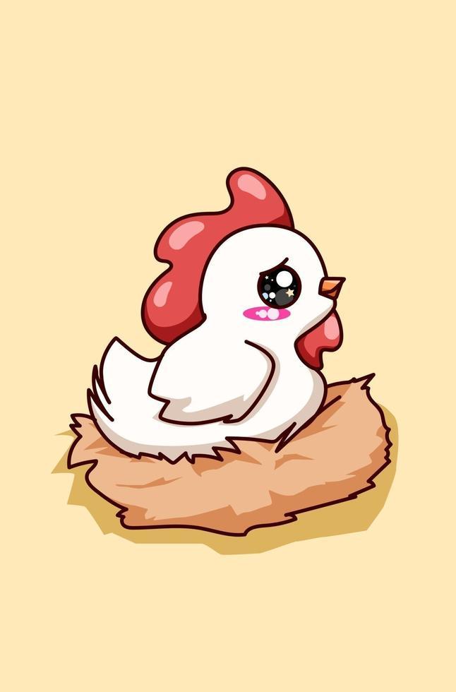illustration de dessin animé mignon poule blanche heureuse vecteur