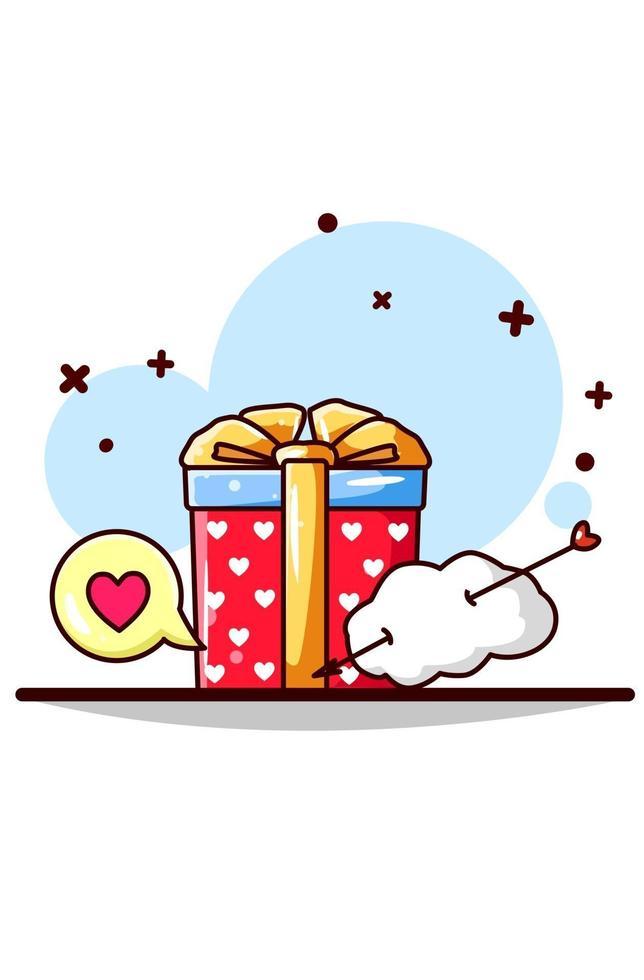 cadeau de la saint-valentin avec illustration de dessin animé de notifications nuage et coeur vecteur