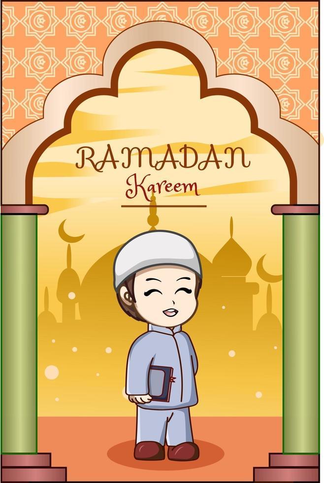 petit garçon portant livre à illustration de dessin animé ramadan kareem vecteur