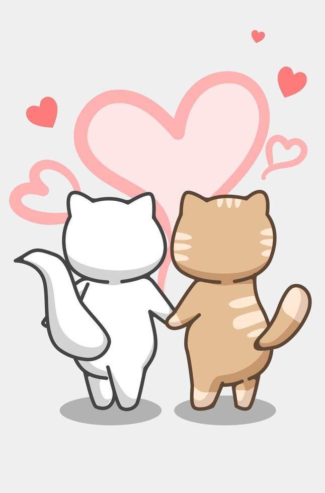 couple de chats tombent amoureux dans l & # 39; illustration de dessin animé de la saint-valentin vecteur