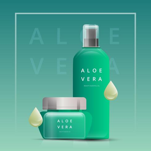 Modèle de publicité de vente d'huiles essentielles. Aloe Vera publicité cosmétique. vecteur