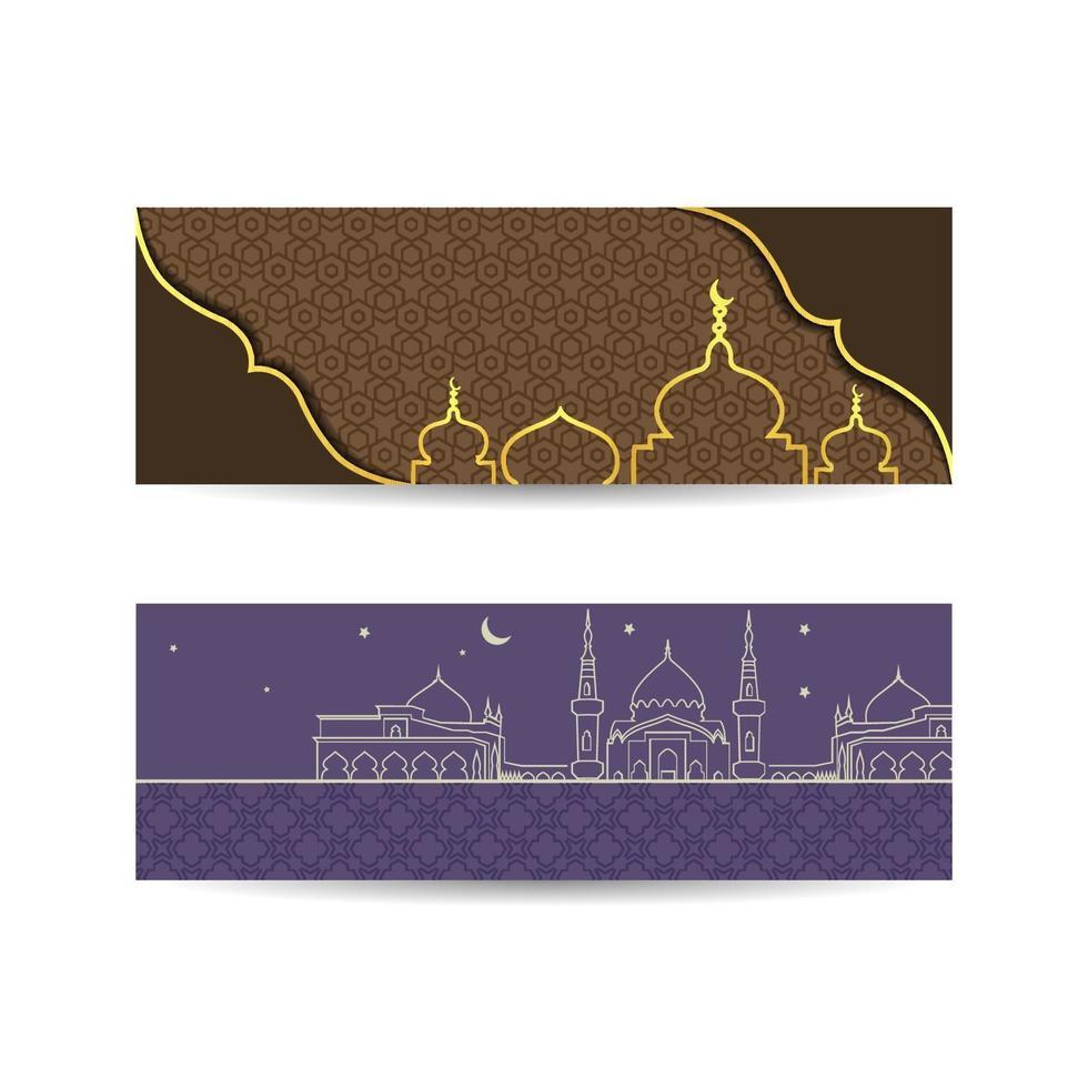 eid mupy ramadan avec mosquée de style plat la nuit. bannière de fond islamique conception de polices barak signifie hap vecteur