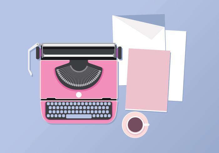 Machine à écrire, tasse, café et papier vue de dessus sur la table vecteur