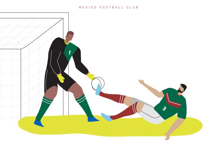Mexique Coupe du monde football caractère plat Vector Illustration