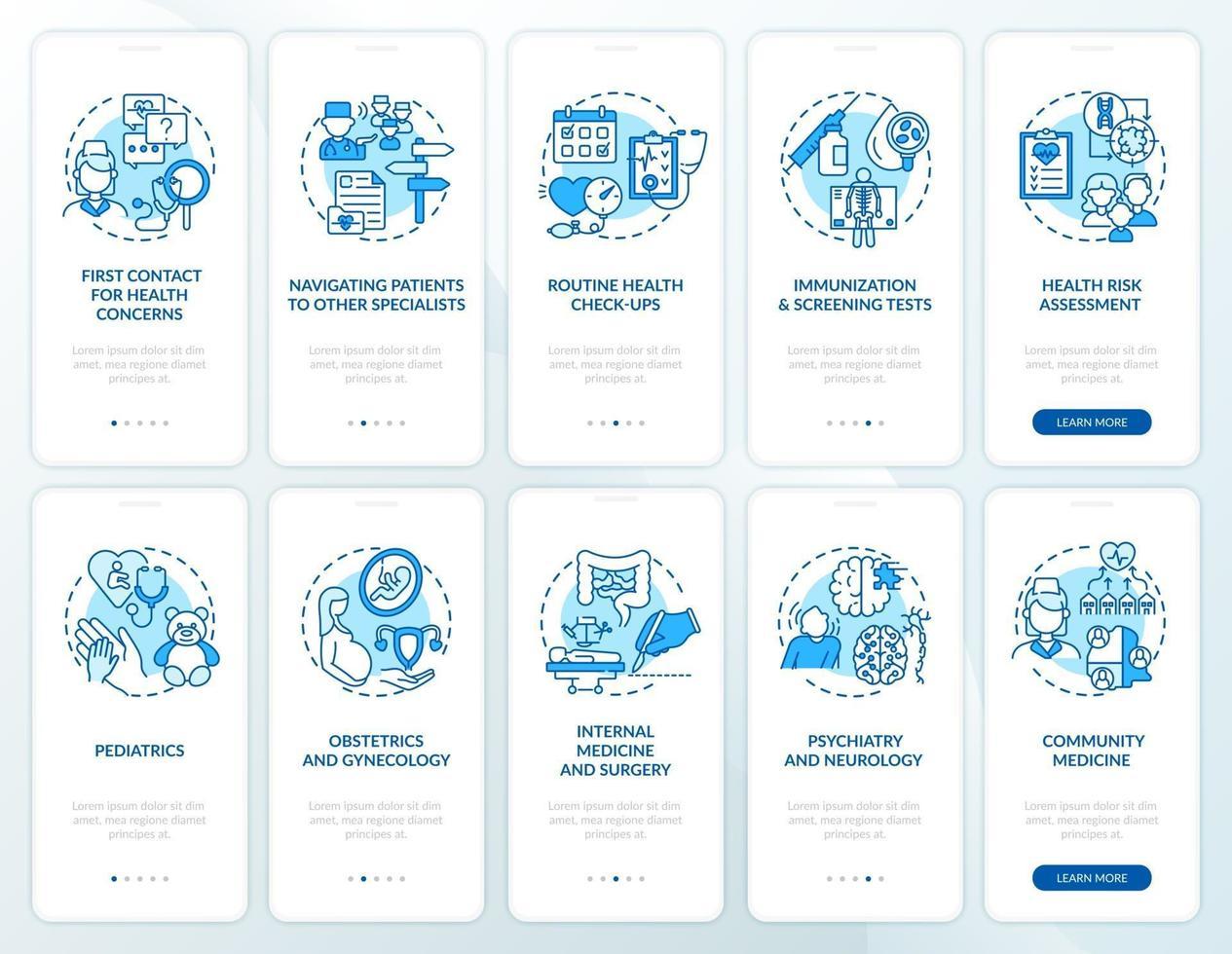 Écran de page de l'application mobile d'intégration bleu médecin de famille avec ensemble de concepts vecteur