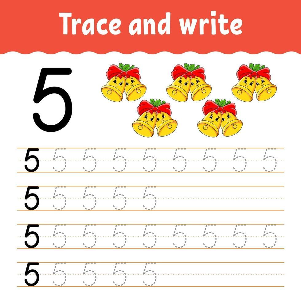 apprendre le numéro 5. tracer et écrire. thème d'hiver. pratique de l'écriture manuscrite. apprendre les nombres pour les enfants. feuille de travail sur le développement de l'éducation. page d'activité couleur. illustration vectorielle isolé dans un style dessin animé mignon. vecteur