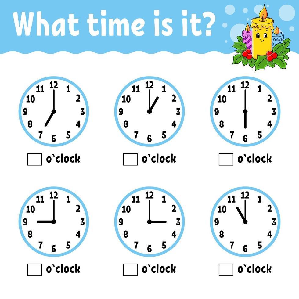temps d'apprentissage sur l'horloge. thème d'hiver. feuille de travail d'activités éducatives pour les enfants et les tout-petits. jeu pour les enfants. illustration vectorielle simple plat isolé couleur dans un style de dessin animé mignon. vecteur