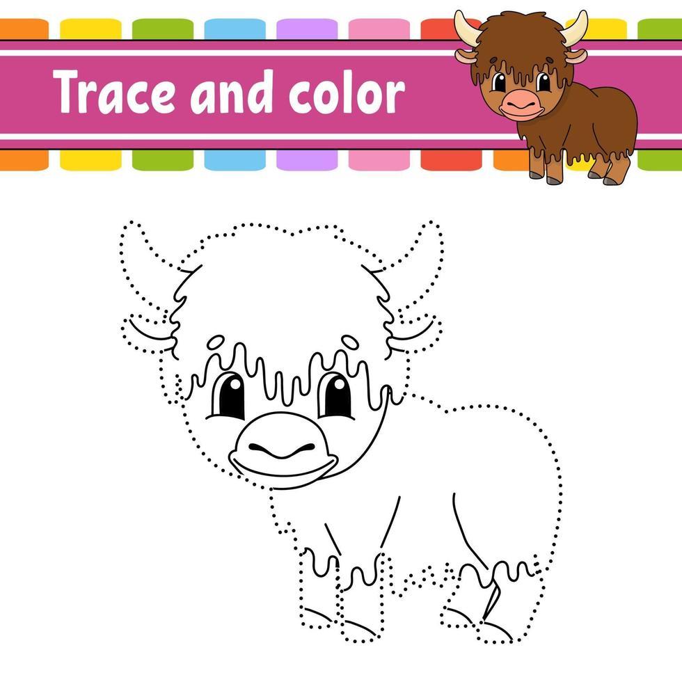 yak de jeu point à point. tracer une ligne. pour les enfants. feuille de travail d'activité. livre de coloriage. avec réponse. personnage de dessin animé. illustration vectorielle. vecteur