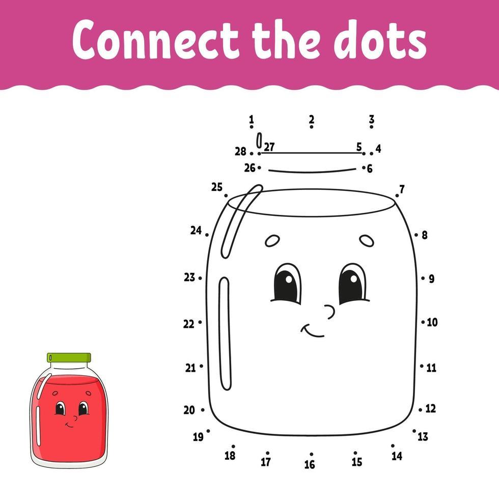 jeu de point à point. tracer une ligne. pour les enfants. feuille de travail d'activité. livre de coloriage. avec réponse. personnage de dessin animé. illustration vectorielle. vecteur