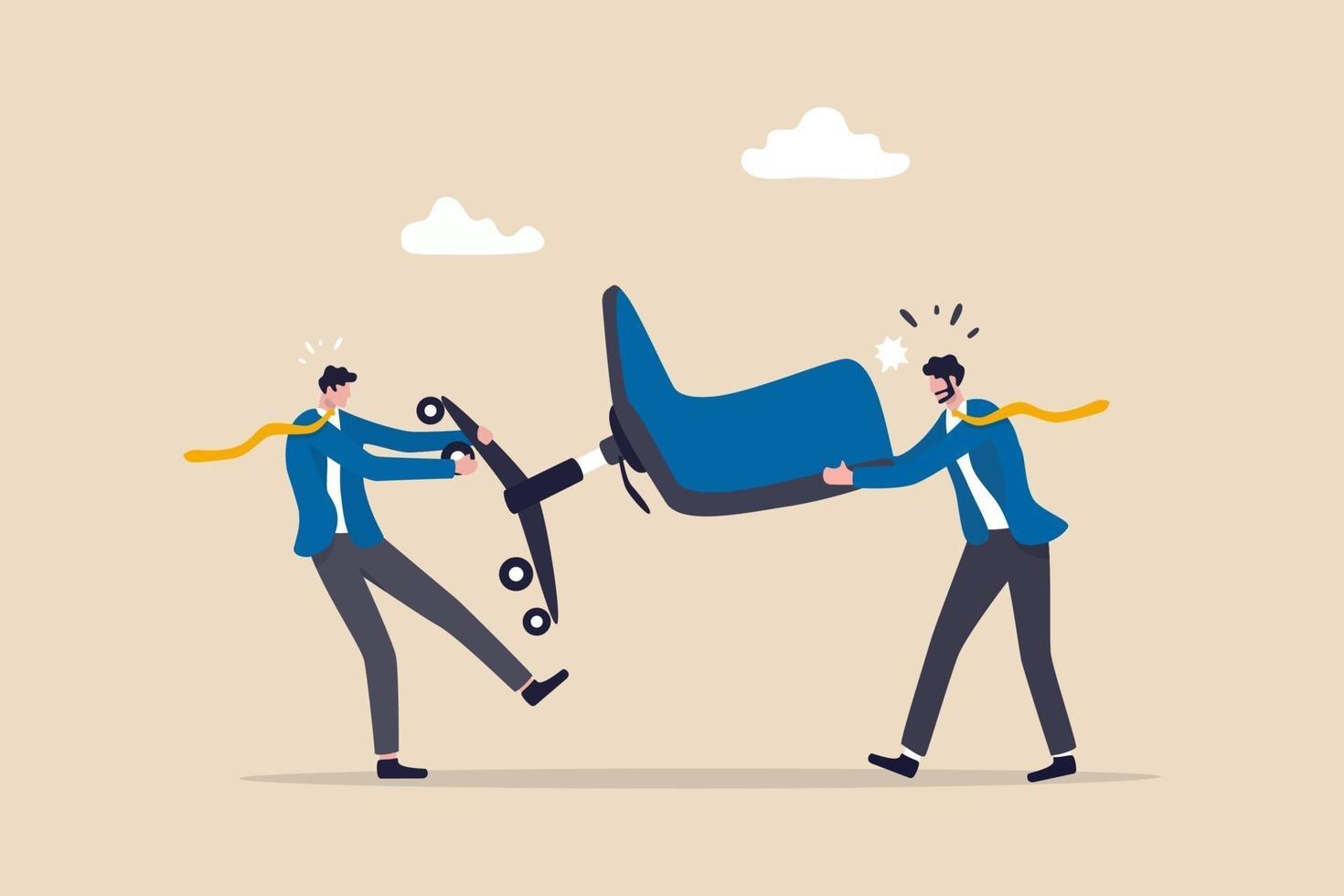 concurrence commerciale, lutte ou concurrence pour un poste vacant, une promotion d'emploi ou un concept de développement de carrière, un combat de concurrent d'hommes d'affaires et une chaise de gestion de bureau vecteur
