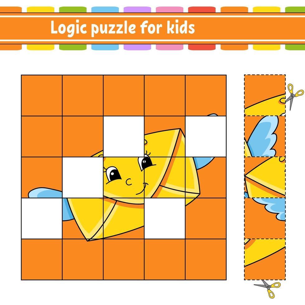puzzle logique pour la lettre des enfants. feuille de travail sur le développement de l'éducation. jeu d'apprentissage pour les enfants. page d'activité. illustration vectorielle simple plat isolé dans un style dessin animé mignon. vecteur