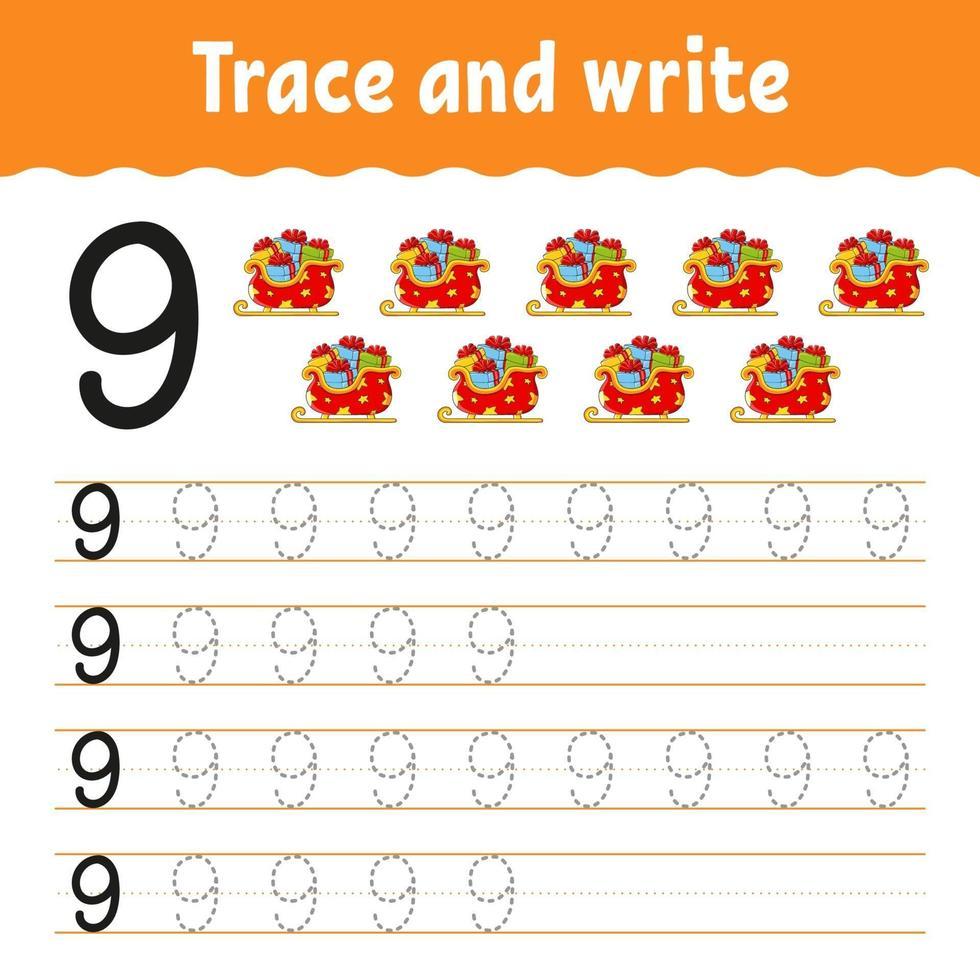 apprendre les nombres 9. tracer et écrire. thème d'hiver. pratique de l'écriture manuscrite. apprendre les nombres pour les enfants. feuille de travail sur le développement de l'éducation. page d'activité couleur. illustration vectorielle isolé dans un style dessin animé mignon. vecteur