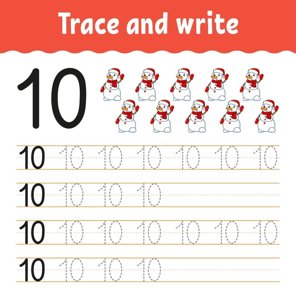 apprendre le numéro 10. tracer et écrire. thème d'hiver. pratique de l'écriture manuscrite. apprendre les nombres pour les enfants. feuille de travail sur le développement de l'éducation. page d'activité couleur. illustration vectorielle isolé dans un style dessin animé mignon. vecteur
