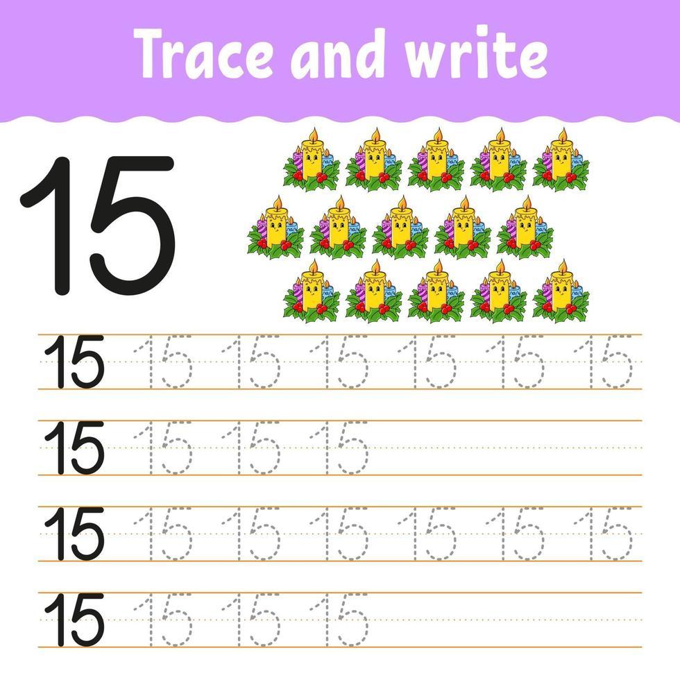 apprendre le numéro 15. tracer et écrire. thème d'hiver. pratique de l'écriture manuscrite. apprendre les nombres pour les enfants. feuille de travail sur le développement de l'éducation. page d'activité couleur. illustration vectorielle isolé dans un style dessin animé mignon. vecteur