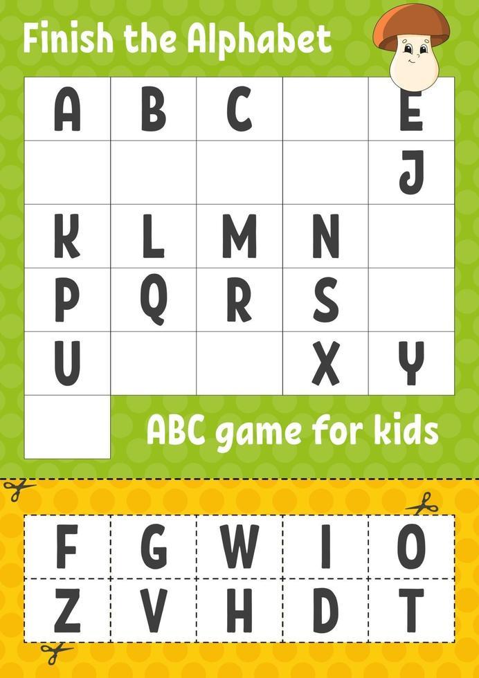 terminer l'alphabet. jeu abc pour les enfants. couper et coller. feuille de travail sur le développement de l'éducation. jeu d'apprentissage pour les enfants. page d'activité couleur. vecteur