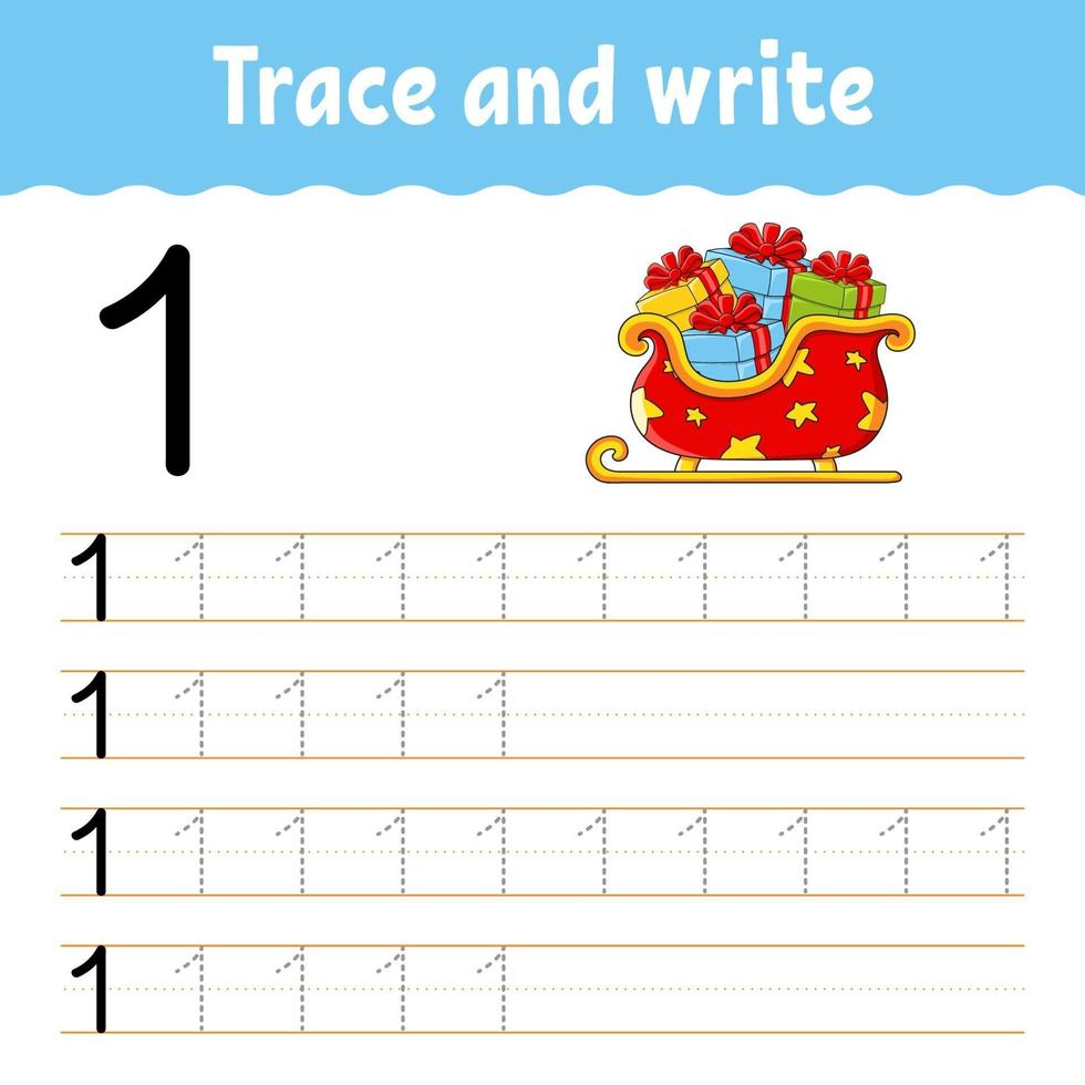 apprendre le numéro 1. tracer et écrire. thème d'hiver. pratique de l'écriture manuscrite. apprendre les nombres pour les enfants. feuille de travail sur le développement de l'éducation. page d'activité couleur. illustration vectorielle isolé dans un style dessin animé mignon. vecteur