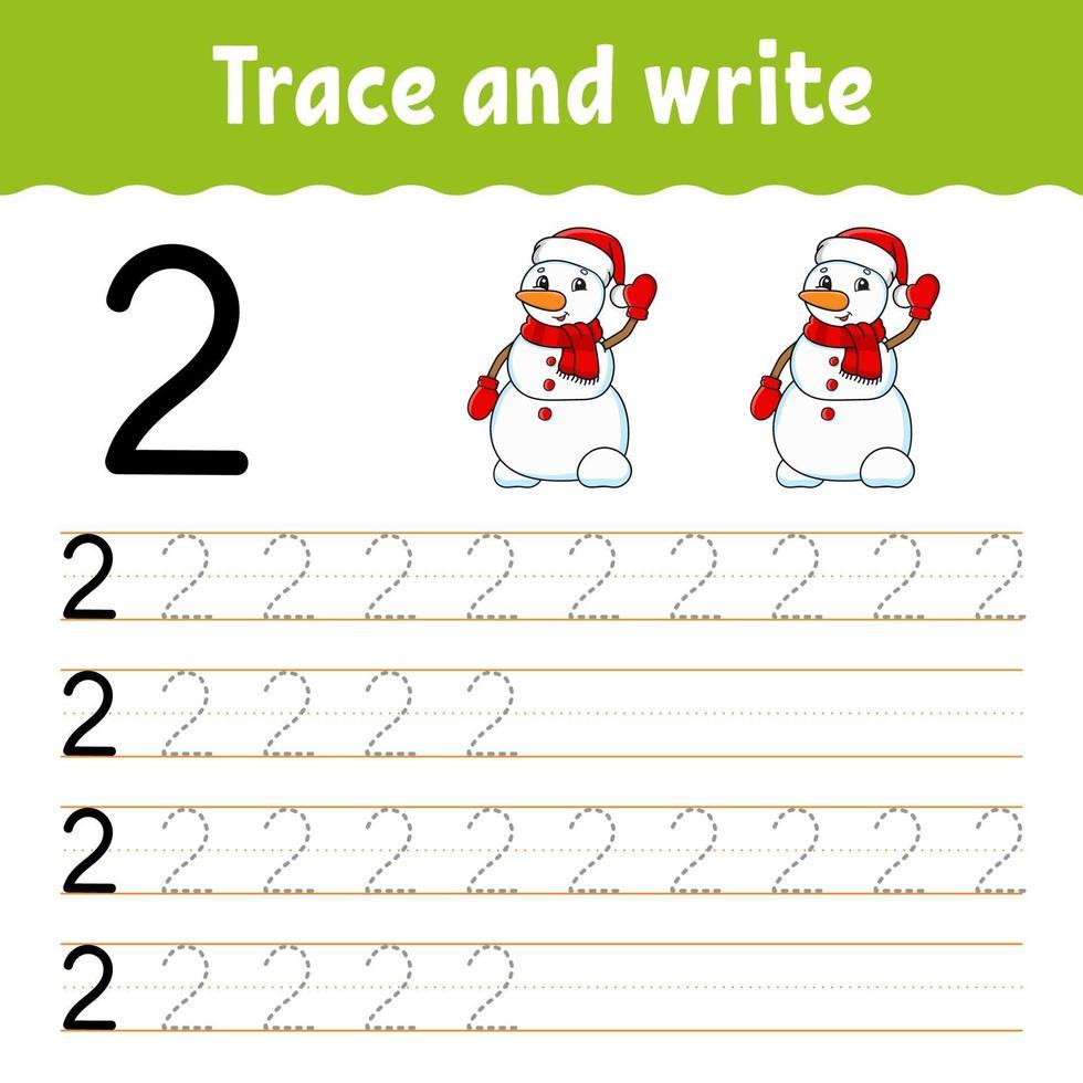 apprendre le numéro 2. tracer et écrire. thème d'hiver. pratique de l'écriture manuscrite. apprendre les nombres pour les enfants. feuille de travail sur le développement de l'éducation. page d'activité couleur. illustration vectorielle isolé dans un style dessin animé mignon. vecteur