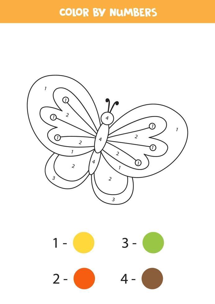 couleur papillon par numéros. feuille de calcul de transport. vecteur