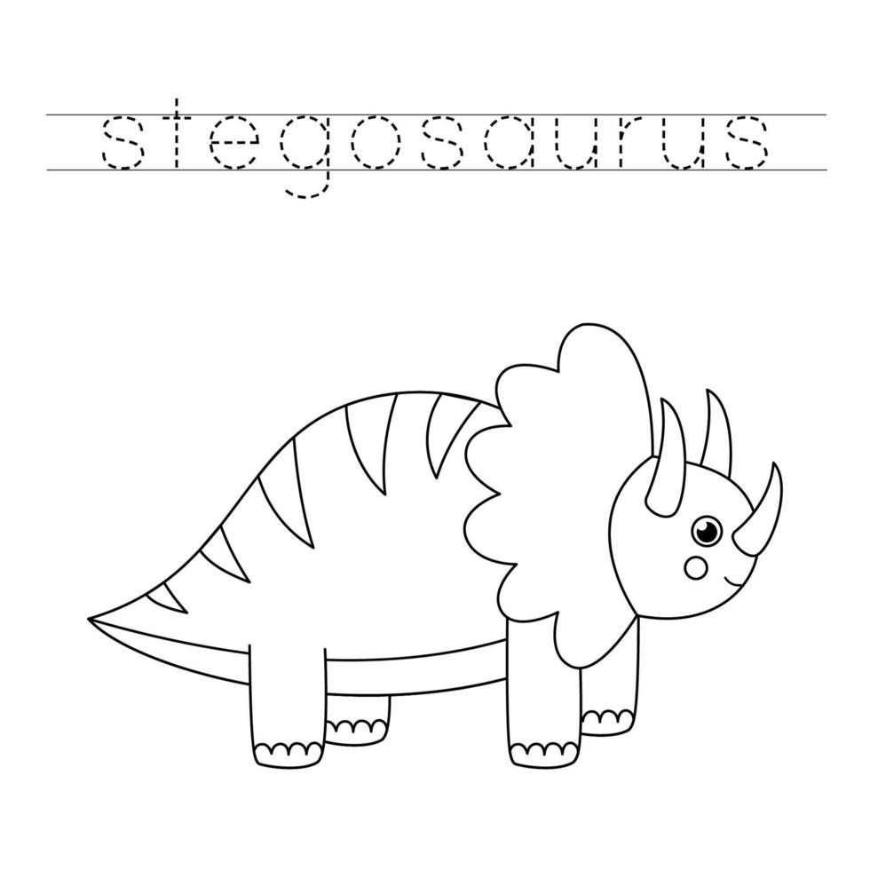traçant des lettres avec des dinosaures mignons. pratique de l'écriture. vecteur