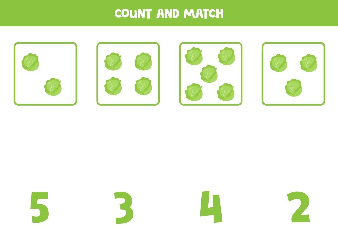 jeu de comptage pour les enfants. jeu de mathématiques avec des choux de dessin animé. vecteur