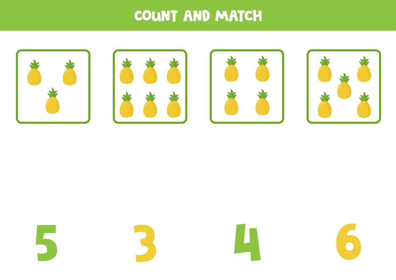 jeu de comptage pour les enfants. jeu de mathématiques avec des ananas de dessin animé. vecteur