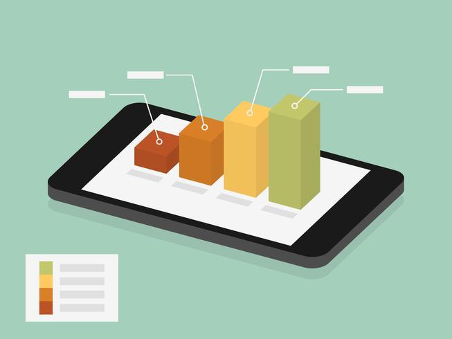 graphique sur l'écran du mobile vecteur