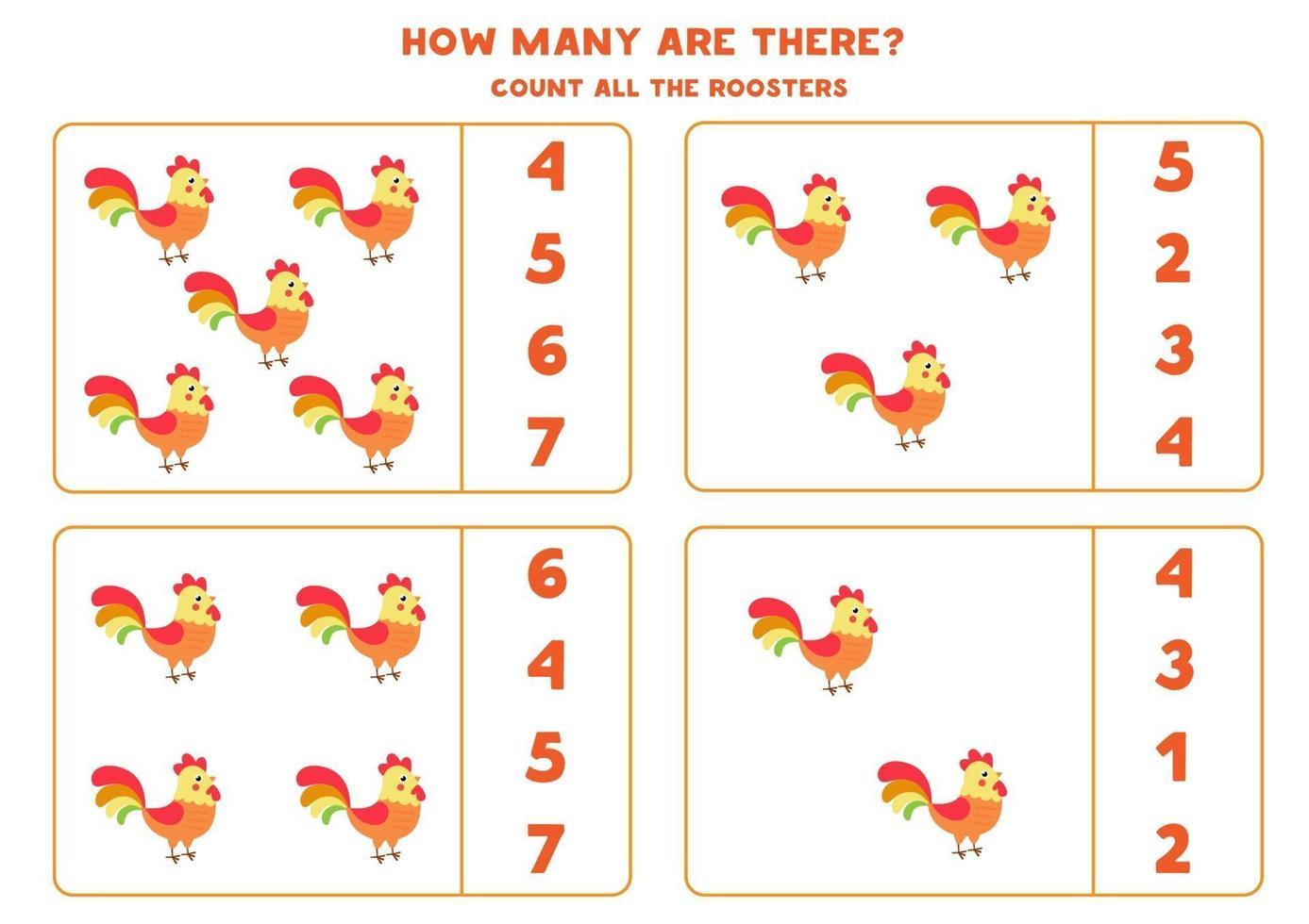 jeu de comptage pour les enfants. jeu de mathématiques avec des coqs de dessins animés. vecteur