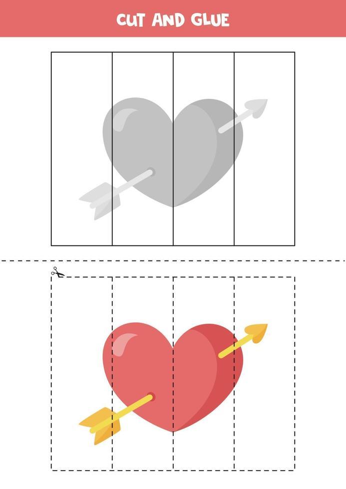 jeu de coupe et de colle pour les enfants. coeur de dessin animé mignon. vecteur