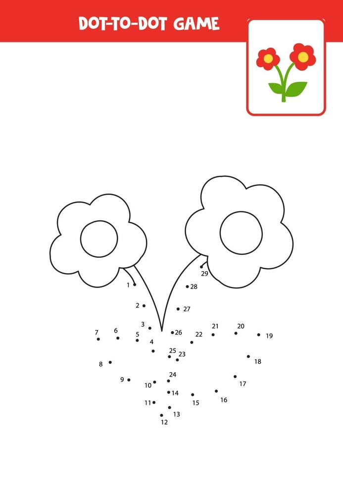 pratique de l'écriture manuscrite pour les enfants. point à point avec une fleur mignonne. vecteur