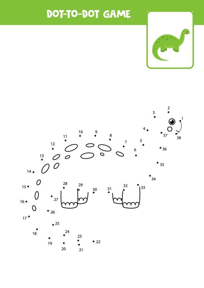 connectez le jeu de points avec un dinosaure mignon. vecteur