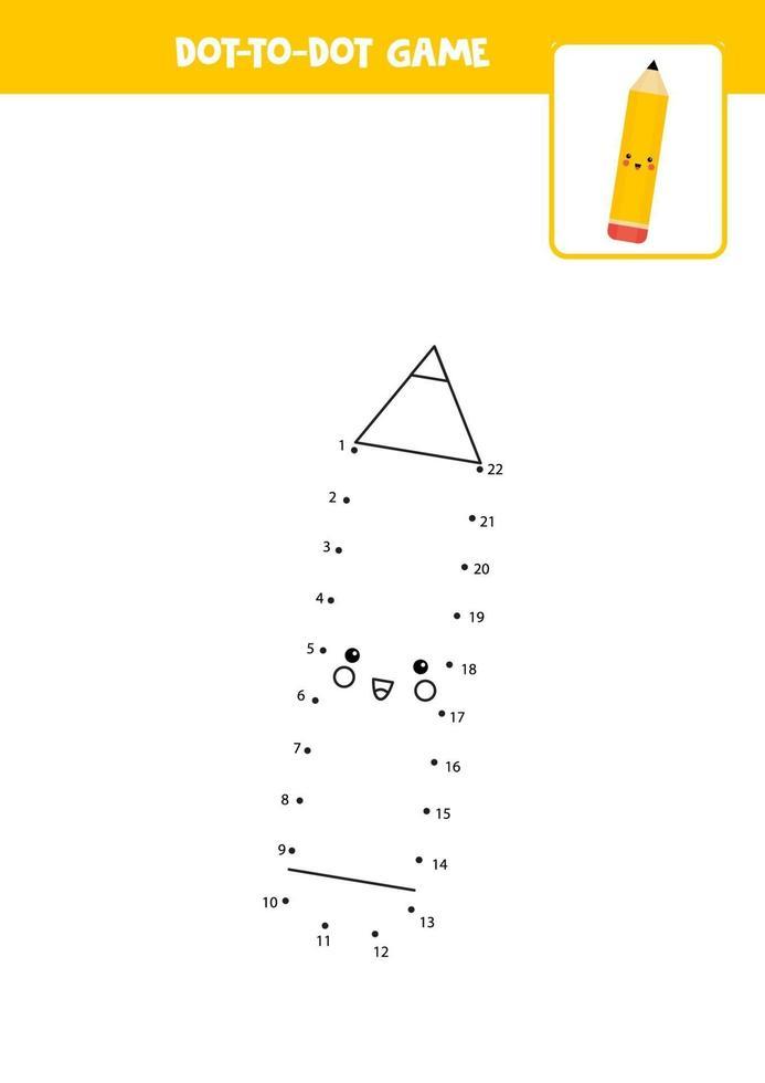 pratique de l'écriture manuscrite pour les enfants. point à point avec un crayon. vecteur