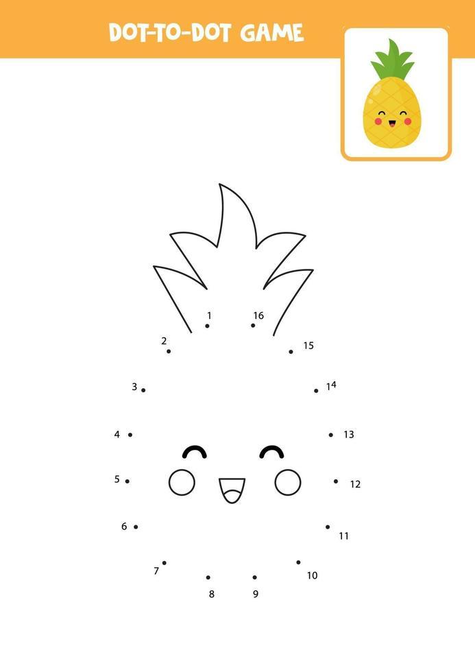connectez le jeu de points avec de l'ananas kawaii. vecteur