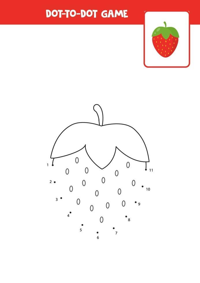 pratique de l'écriture manuscrite pour les enfants. point à point avec la fraise. vecteur