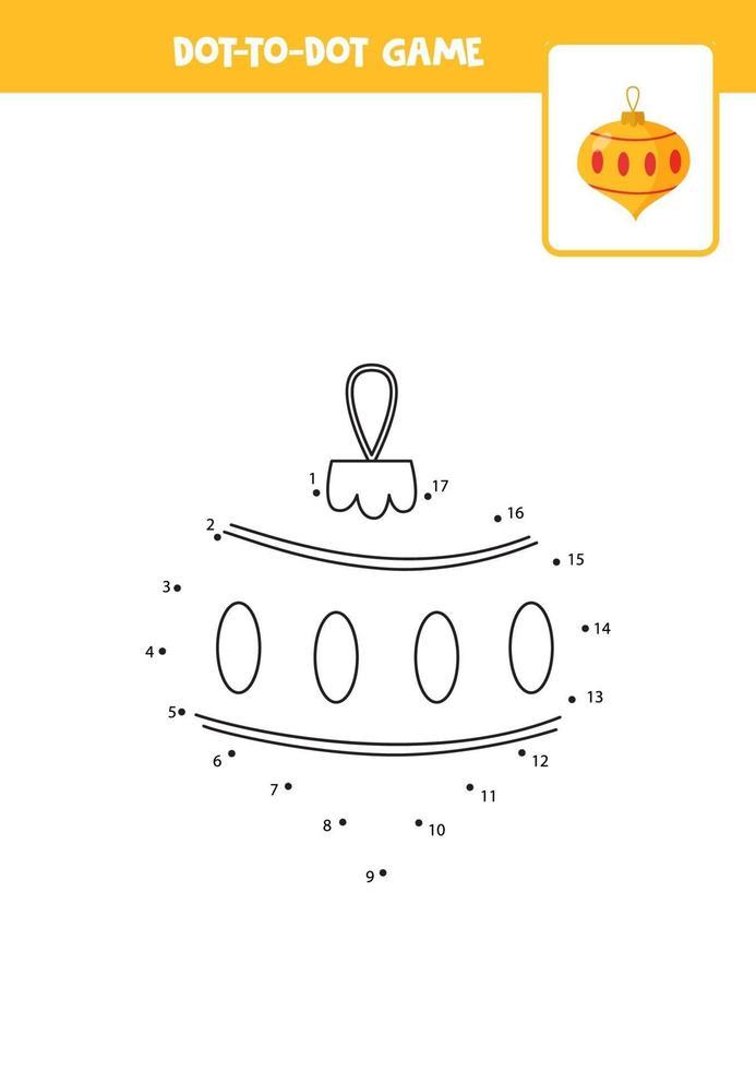 pratique de l'écriture manuscrite pour les enfants. point à point avec boule de Noël. vecteur