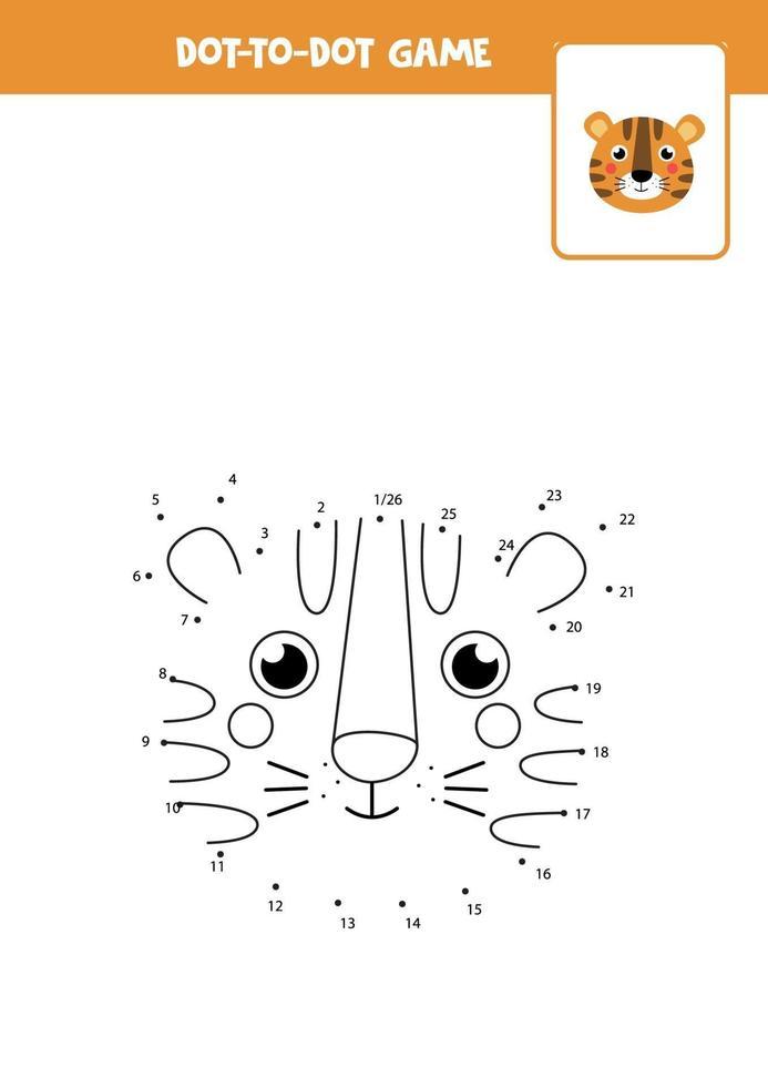 pratique de l'écriture manuscrite pour les enfants. point à point avec un tigre mignon. vecteur