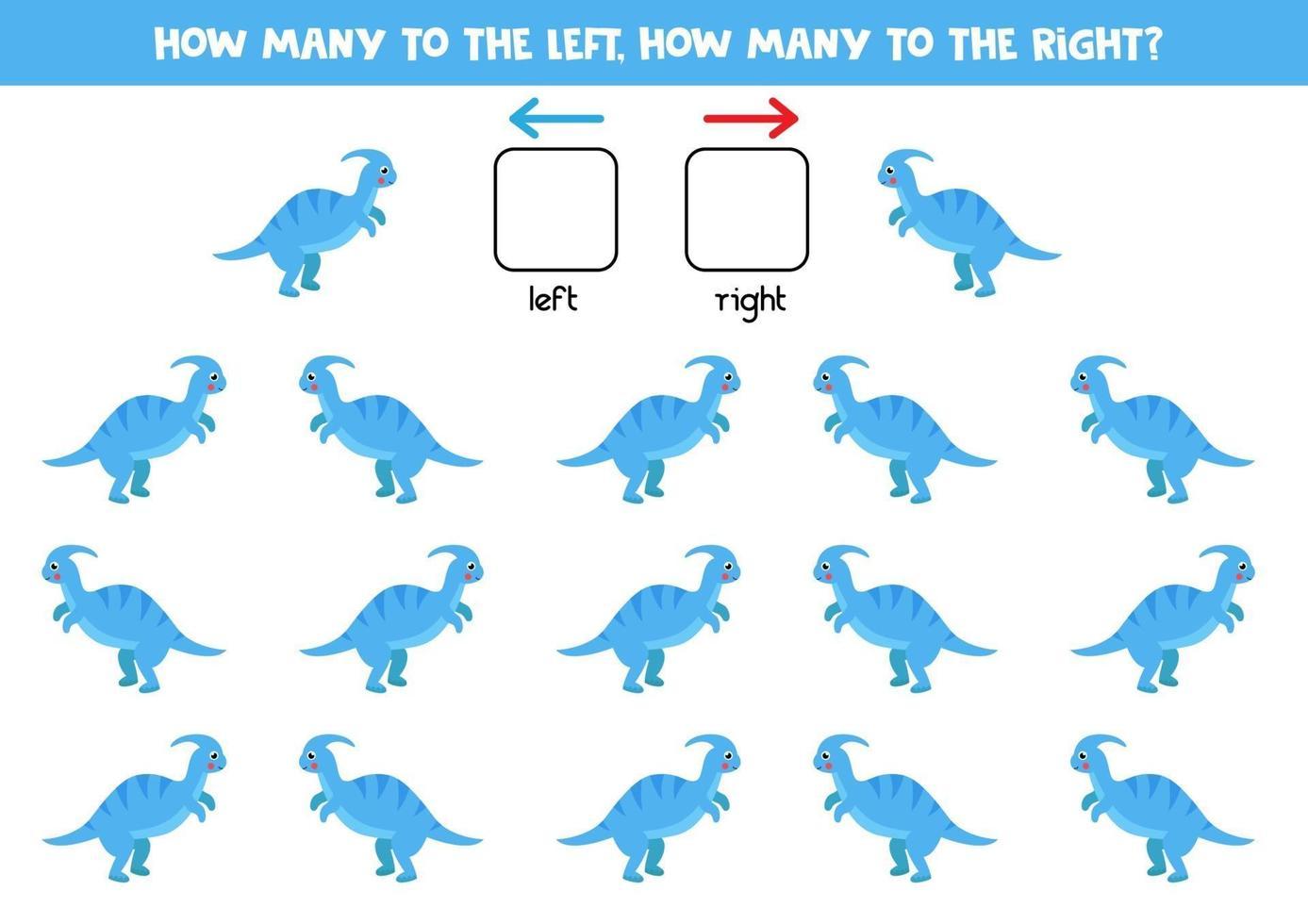 à gauche ou à droite avec un dinosaure mignon. feuille de calcul logique pour les enfants d'âge préscolaire. vecteur