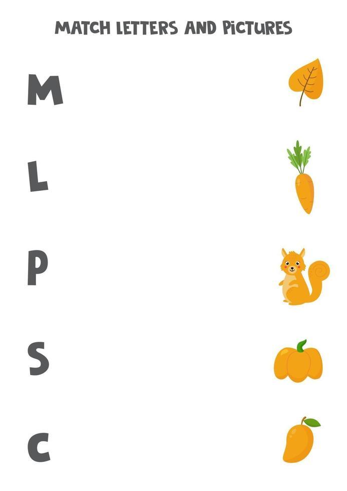 jeu de correspondance. faire correspondre les images avec les lettres de début. vecteur