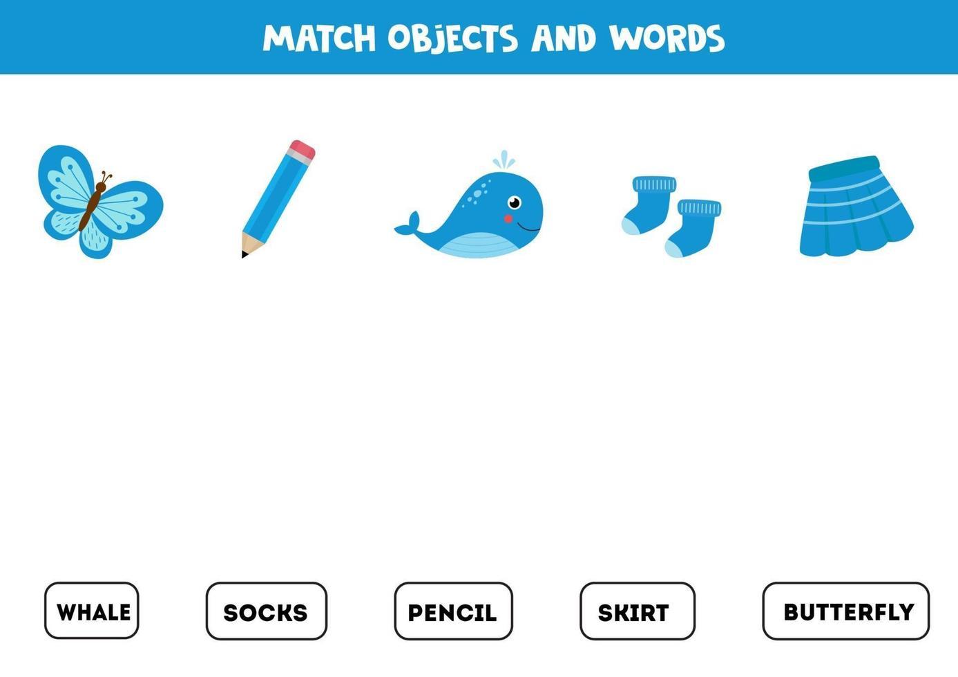 jeu d'association avec des objets bleus colorés. jeu logique. vecteur