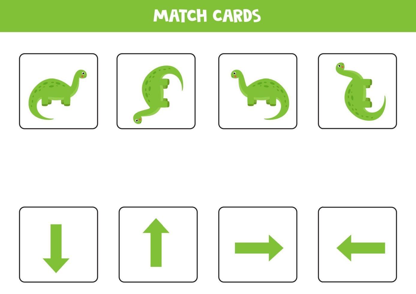 orientation spatiale pour les enfants avec un brontosaure de dessin animé mignon. vecteur