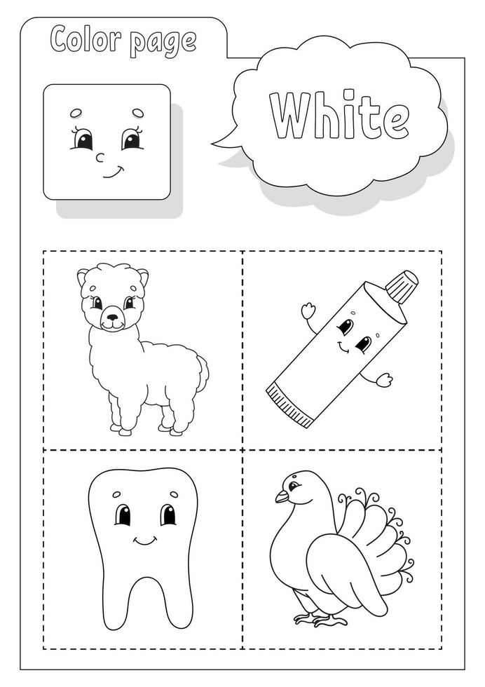 livre de coloriage blanc. apprendre les couleurs. flashcard pour les enfants. personnages de dessins animés. ensemble d'images pour les enfants d'âge préscolaire. feuille de travail de l'éducation. illustration vectorielle. vecteur