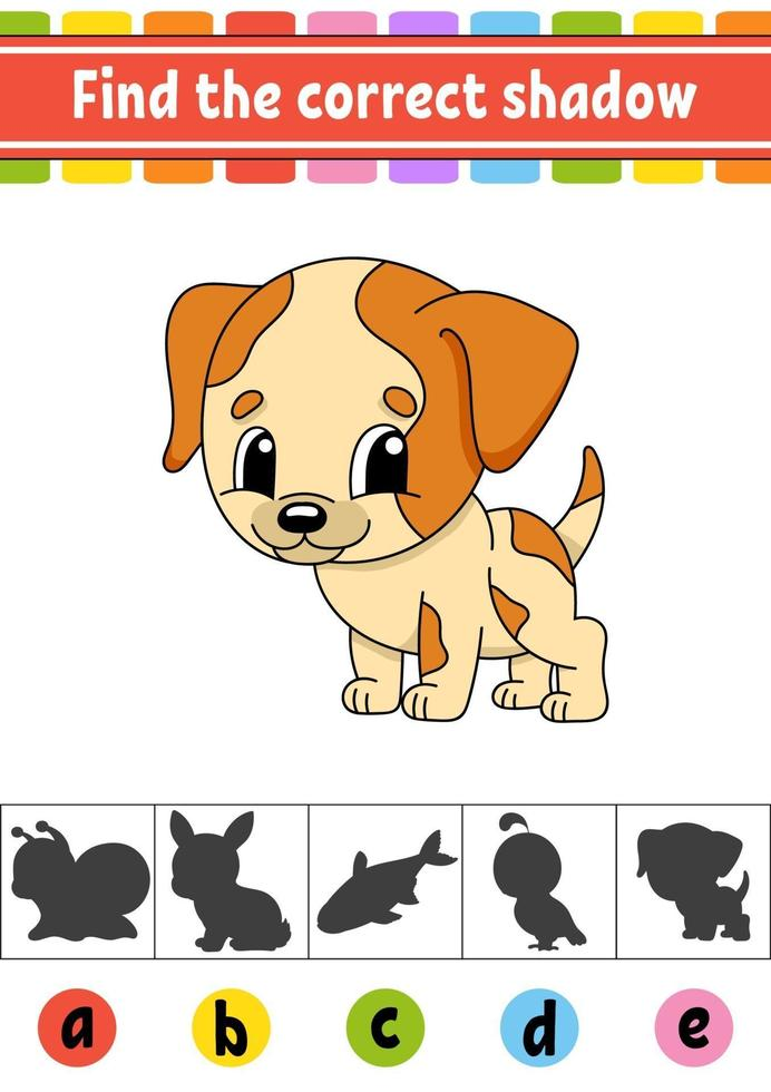 trouver le bon chien d'ombre. feuille de travail sur le développement de l'éducation. page d'activité. jeu de couleurs pour enfants. illustration vectorielle isolé. personnage de dessin animé. vecteur