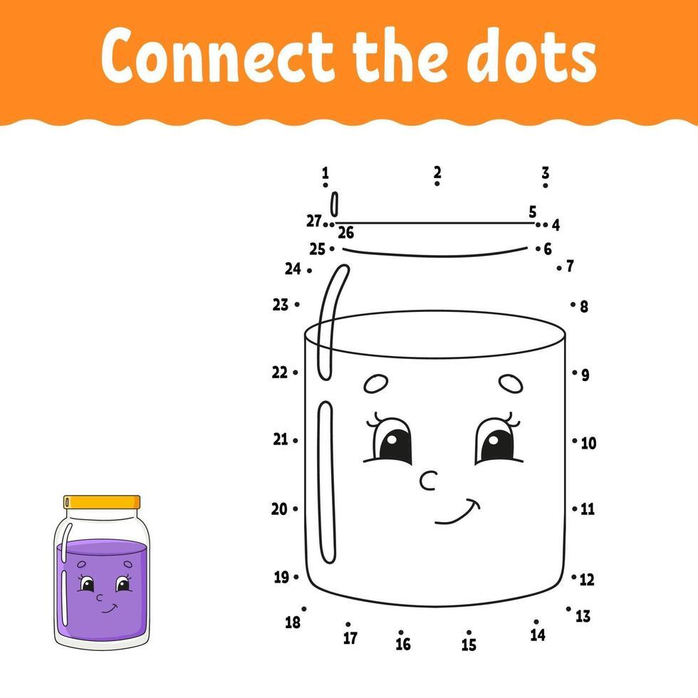 jeu point à point avec pot. tracer une ligne. pour les enfants. feuille de travail d'activité. livre de coloriage. avec réponse. personnage de dessin animé. illustration vectorielle. vecteur