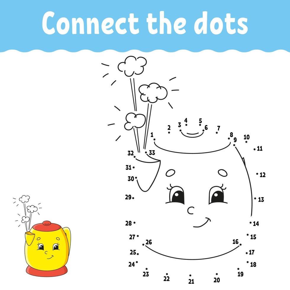 jeu point à point avec théière. tracer une ligne. pour les enfants. feuille de travail d'activité. livre de coloriage. avec réponse. personnage de dessin animé. illustration vectorielle. vecteur